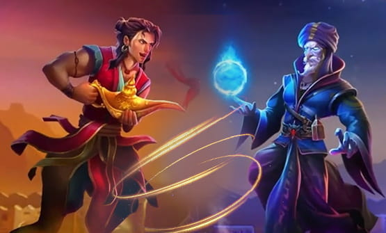 Main characters of the Aladdin and the Sorcerer slot game by Pragmatic Play.