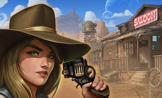 A scene from the Big Bounty Bill online slot by Kalamba: a woman with a gun, and a saloon.