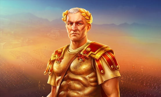 The opening screen of Rome: Caesar's Glory slot game.