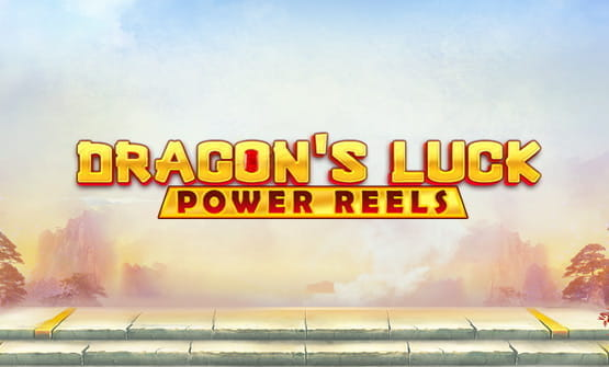 Opening screen and game logo of Dragon's Luck Power Reels.