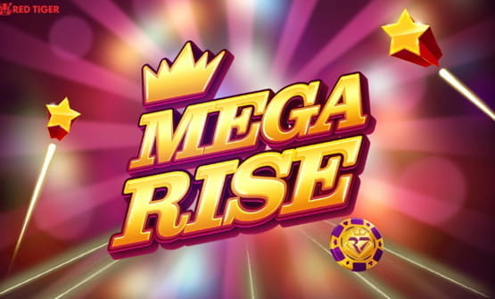 Game logo and opening screen of Mega Rise slot by Red Tiger Gaming.