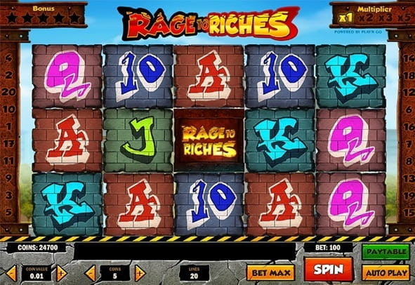 The Rage to Riches slot game by Play'n GO with graffiti symbols and scary monsters.