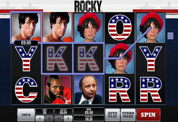 In-game view of the Rocky online slot