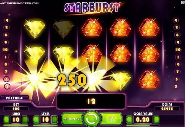 The gameplay screen in Starburst from NetEnt.