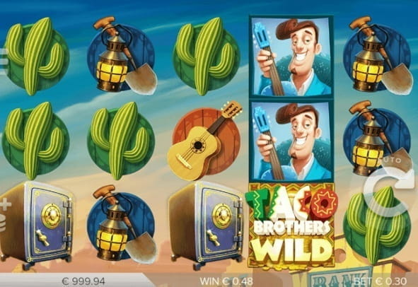 The Reels and symbols of the Taco Brothers Slot game from ELK Studios.