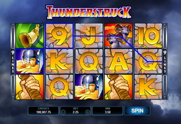 In-game view of the Thunderstruck online slot