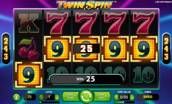 Twin Spin online slot during the game