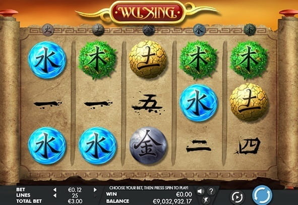 In game action of the Wu Xing online slot game from Genesis Gaming.