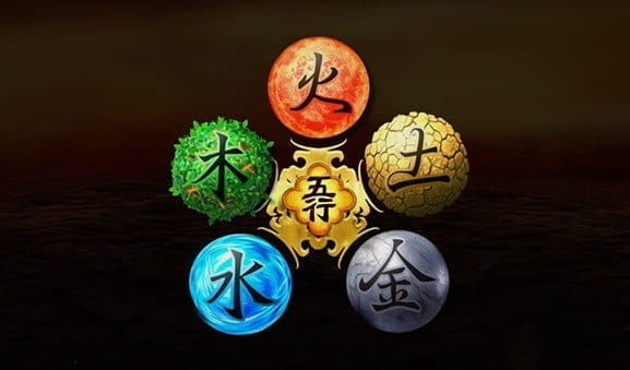 Element symbols from the Wu Xing slot game from Genesis Gaming.