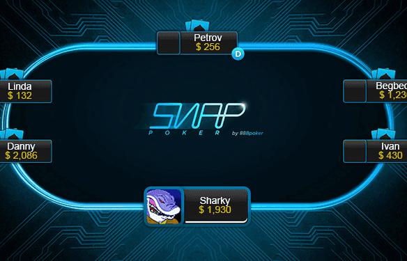 Screenshot showing a Snap Poker online casino table