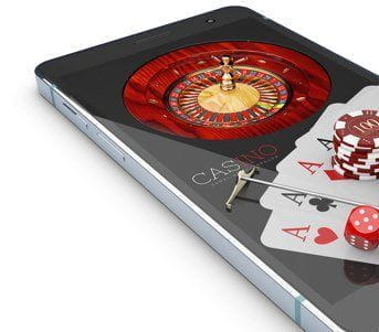A mobile phone displaying different casino games.