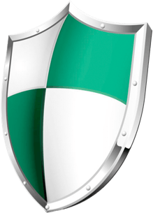 A green and white shield with a silver trim.