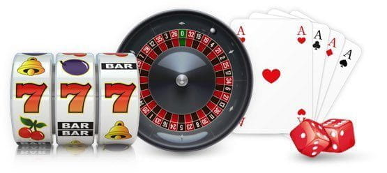 A montage of slot reels, a roulette wheel, playing cards and some dice.