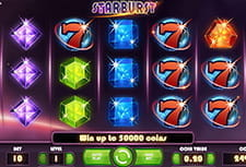 Preview of Starburst space-themed slot game reels before spinning.
