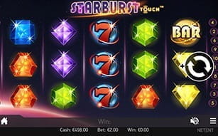 Starburst slot features on the Mr Green mobile app