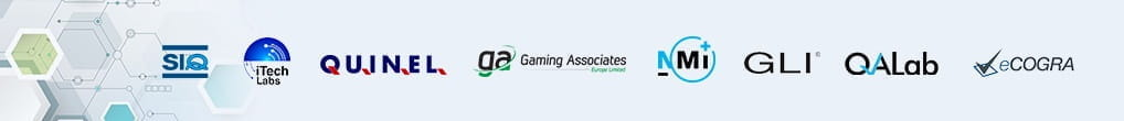 An overview of the logos of approved labs that control the fairness and randomness of online roulette results.