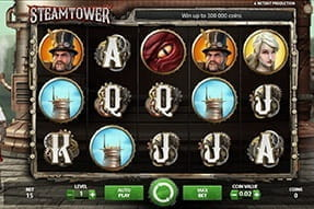 Image of the Steam Tower slot game on a mobile device.