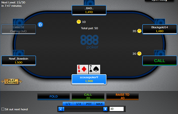 Screenshot showing a Texas Holdem online casino table