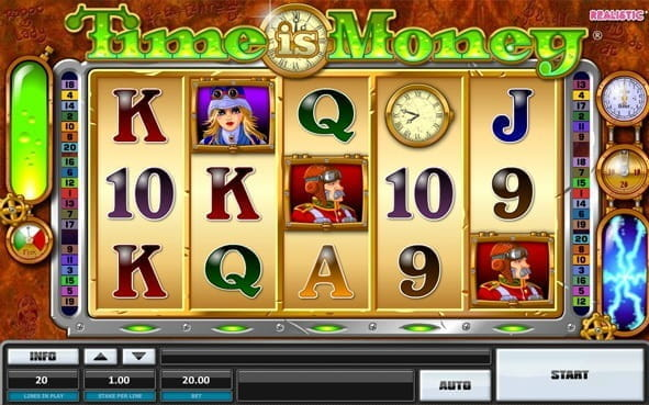 Promotional image for the Time is Money slot game