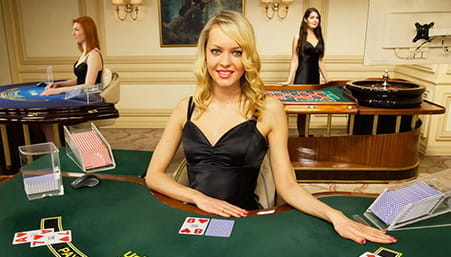 A croupier at a Trustly live casino.