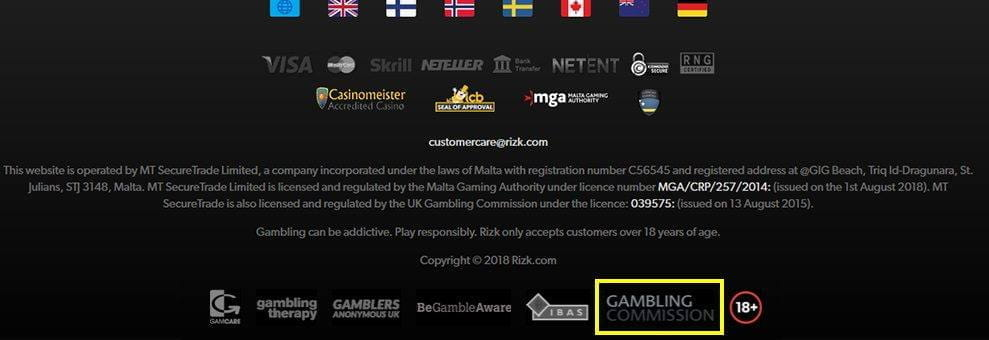 The UK Gambling Commission Licence Seal in the Casino Website Footer