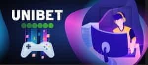 Das Unibet-Logo und ein Zeichentrick-Videospieler.