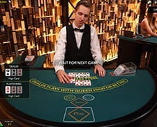 A live blackjack game at the Hippodrome online casino.