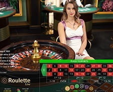 A live roulette game at the Hippodrome online casino.