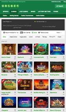 The mobile slots available at Unibet.