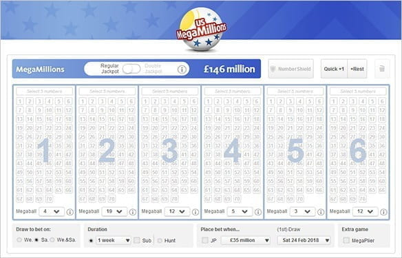 A US Mega Millions ticket online.