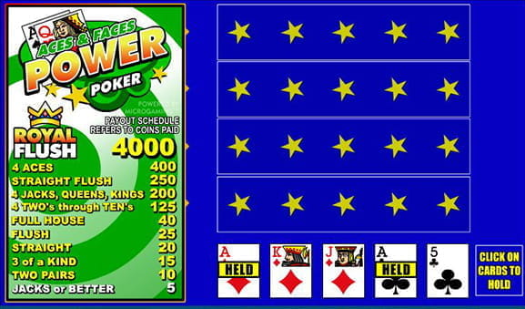 The simple layout of Microgaming's Aces and Faces Power Poker video poker game.