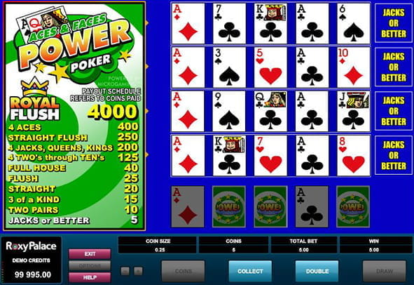 A winning hand in Microgaming's Aces and Faces Power Poker video poker game.