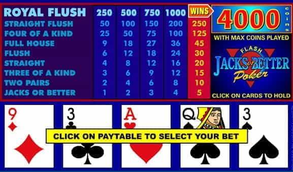 Jacks Or Better Poker Game