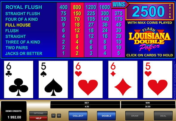 A winning payline in the Louisiana Double video poker game