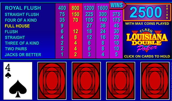Louisiana Double Video Poker Game
