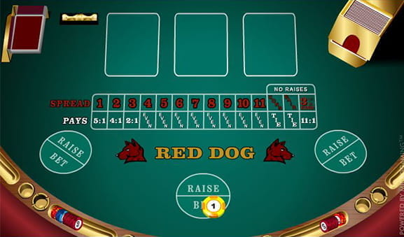 The simple layout of Microgaming's Red Dog video poker game.