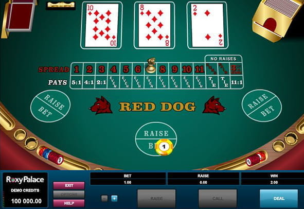A winning hand in Microgaming's Red Dog video poker game.