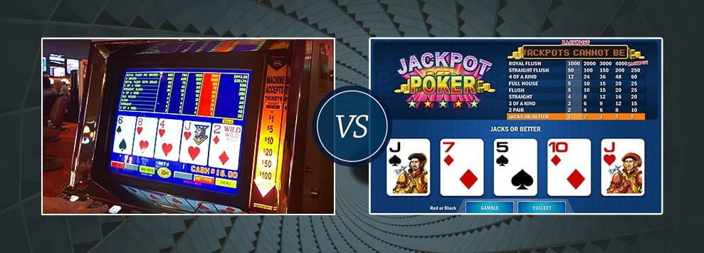 An image depicting offline Video Poker and online Video Poker facing off against each other.