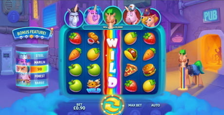 The expanding wild feature in the Vomiting Unicorns slot game from Gluck.