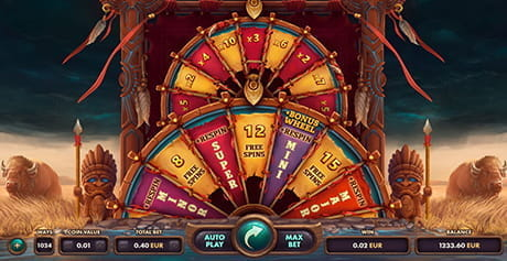 The wheel of fortune in Wild Buffalo by Netgame.