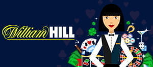Das William Hill-Logo und ein Cartoon-Casinohändler.