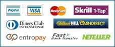 The payment methods on the William Hill casino app.
