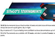 The introduction to Sit & Go Tournaments at William Hill poker.
