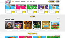 The Wink Bingo home page with many bingo and other games