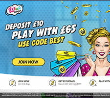 The welcome bonus splash screen at Wink Bingo site
