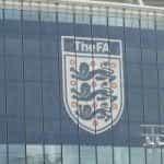 The FA logo on the side of Wembley Stadium
