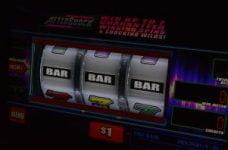 A slot machine showing a jackpot win