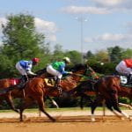 A stock image of some horses racing