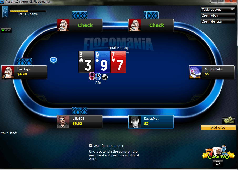 A screenshot of 888poker's new game, Flopomania