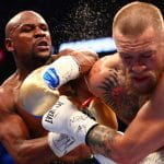 Mayweather lands a punch on McGregor